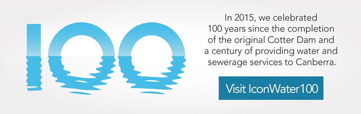 In 2015, we celebrated 100 years since the completion of the original Cotter Dam and a century of providing water and sewerage services to Canberra.Visit Icon Water 100 website.